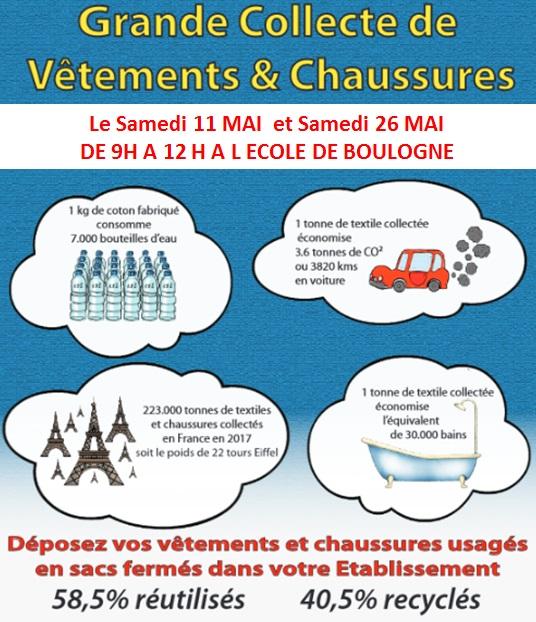 Collecte de vêtements et chaussures @ Ecole Les Tilleuls - Boulogne
